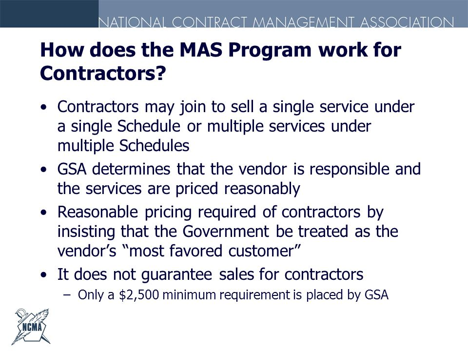 How does the MAS Program work for Contractors