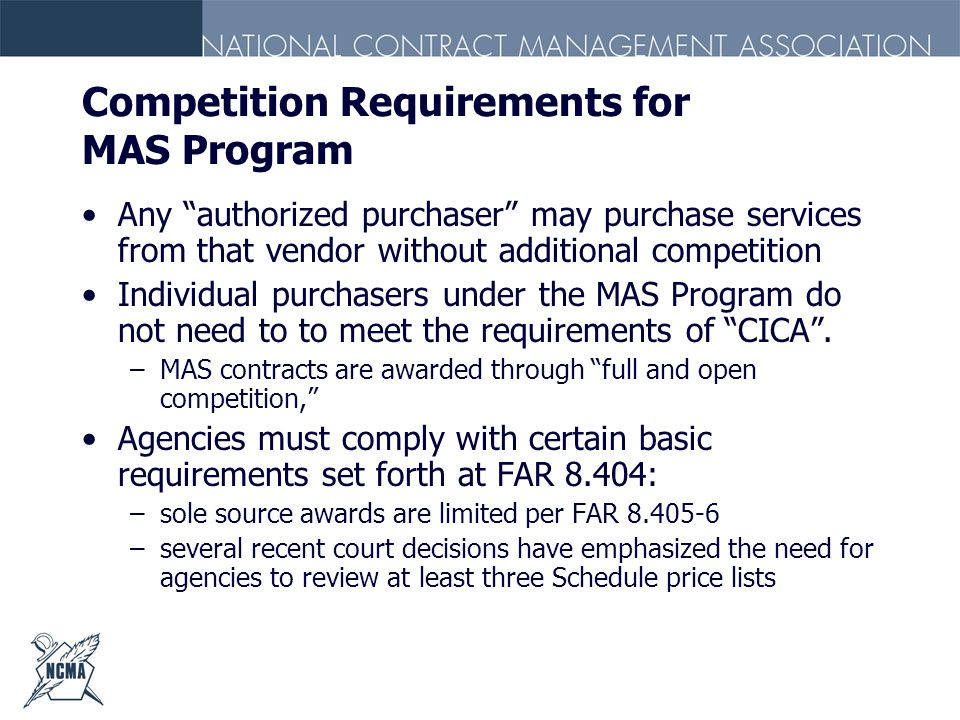 Competition Requirements for MAS Program