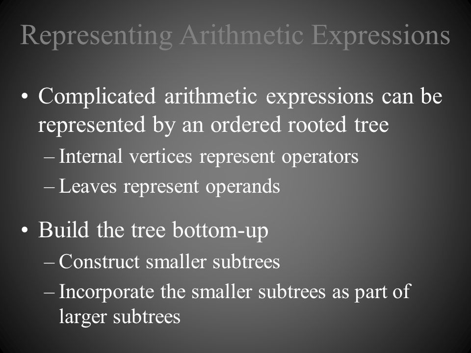 Representing Arithmetic Expressions