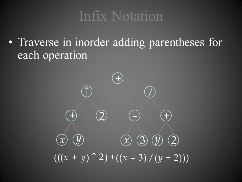 Infix Notation Traverse in inorder adding parentheses for each operation. +  – / 2. x. y. 3.