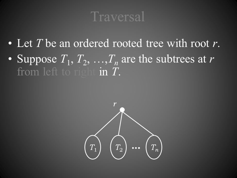 Traversal Let T be an ordered rooted tree with root r.