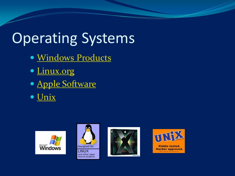 Operating Systems Windows Products Linux.org Apple Software Unix