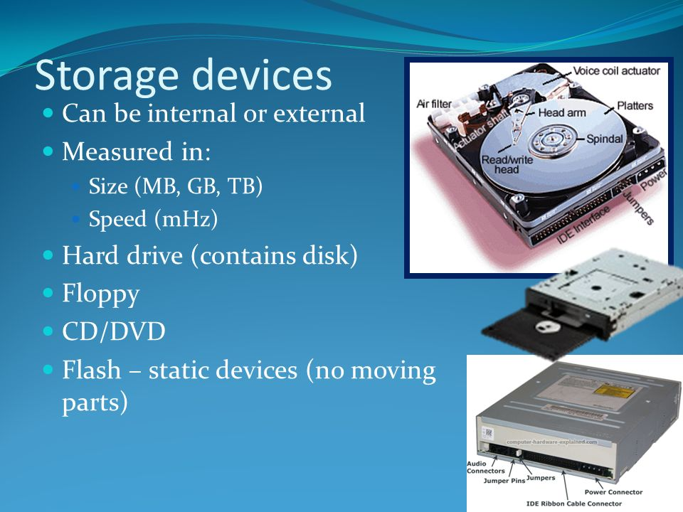 Storage devices Can be internal or external Measured in: