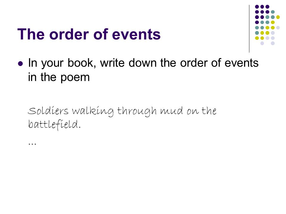 The order of events In your book, write down the order of events in the poem. Soldiers walking through mud on the battlefield.