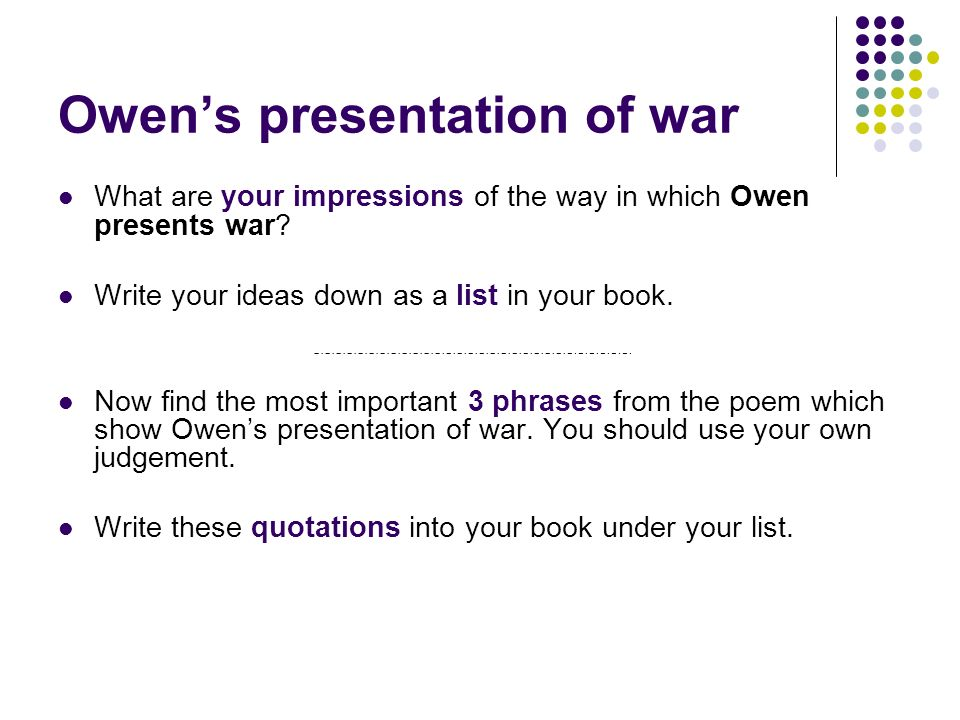 Owen's presentation of war