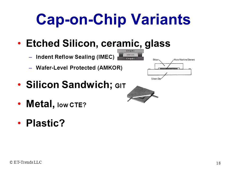 Cap-on-Chip Variants Etched Silicon, ceramic, glass