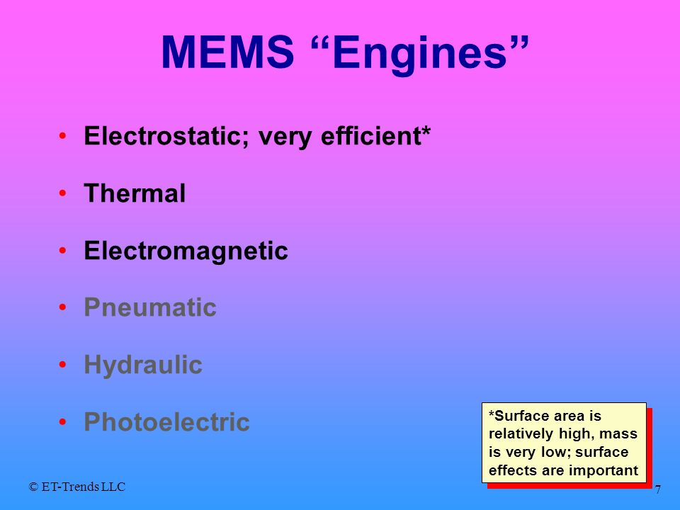 MEMS Engines Electrostatic; very efficient* Thermal Electromagnetic