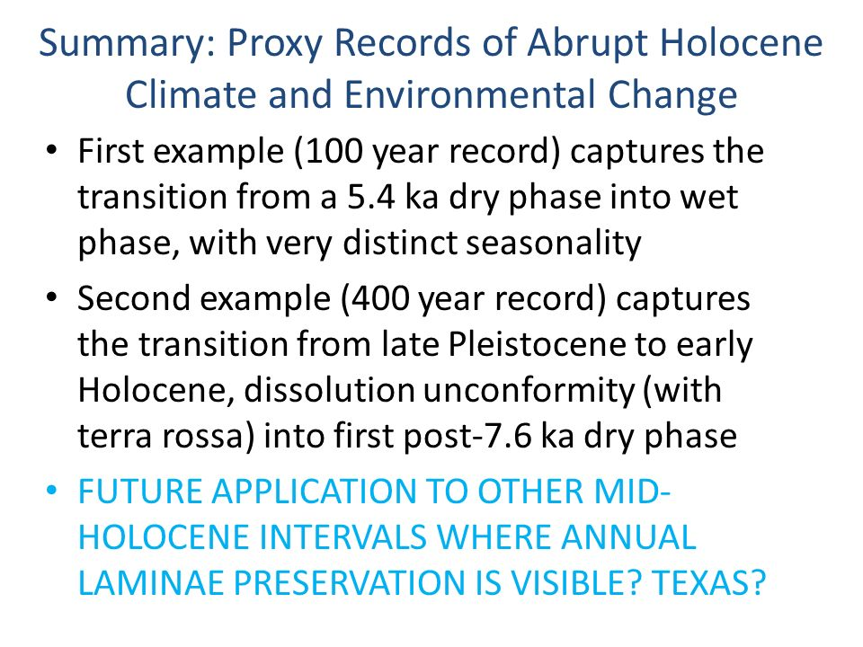 Summary: Proxy Records of Abrupt Holocene Climate and Environmental Change
