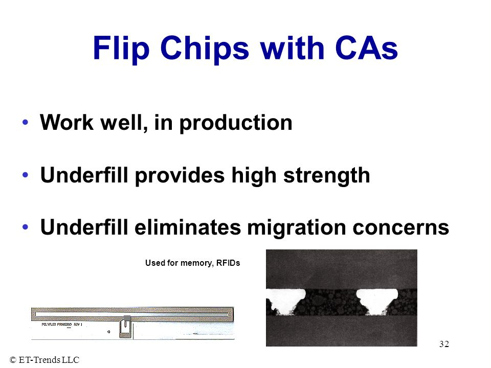 Flip Chips with CAs Work well, in production