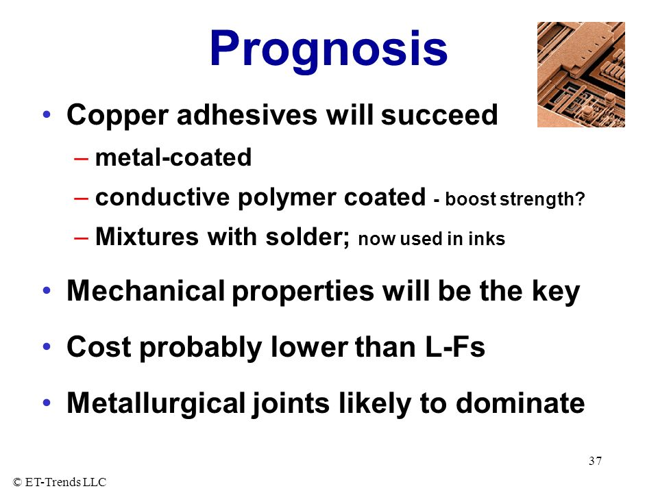Prognosis Copper adhesives will succeed