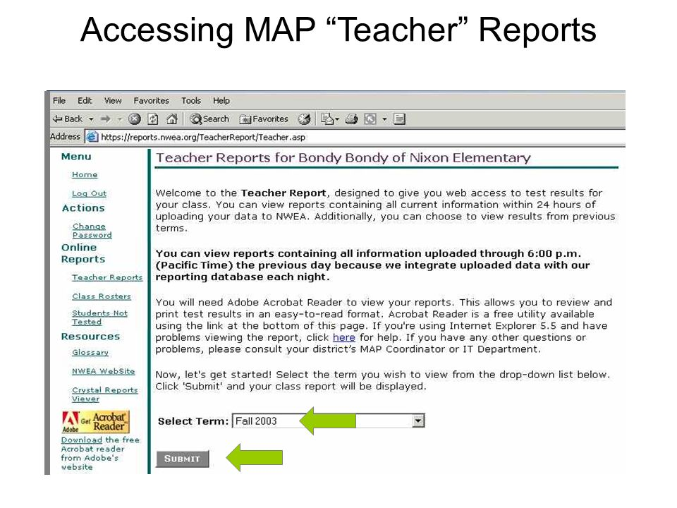 Accessing MAP Teacher Reports