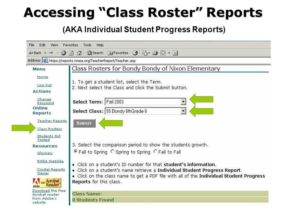 Accessing Class Roster Reports