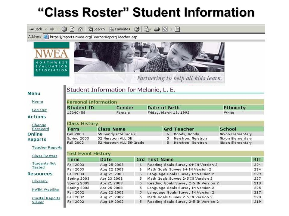 Class Roster Student Information