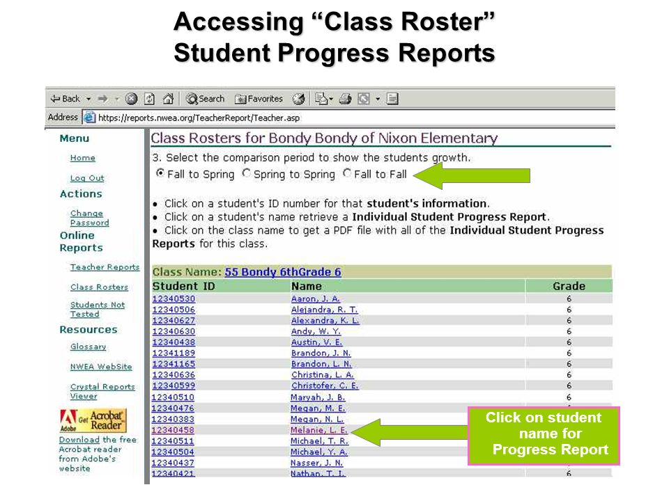 Accessing Class Roster Student Progress Reports