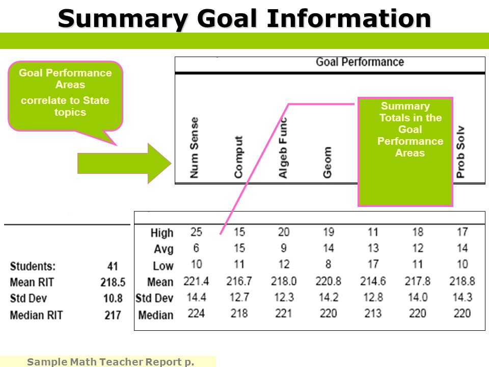 Summary Goal Information