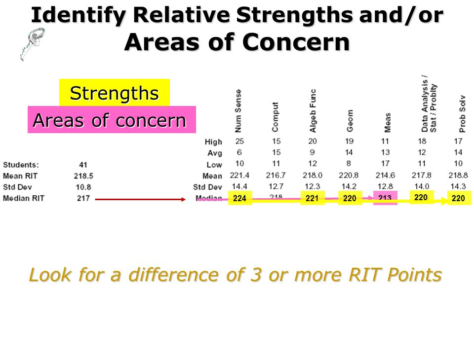 Identify Relative Strengths and/or Areas of Concern