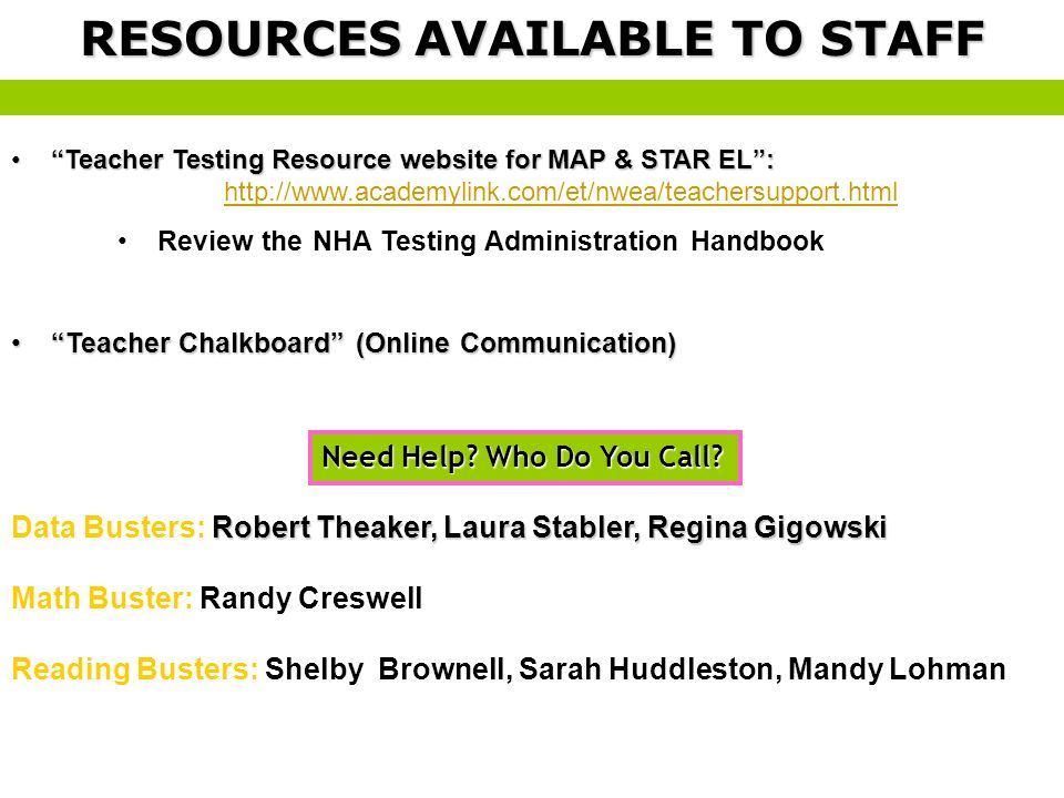 RESOURCES AVAILABLE TO STAFF
