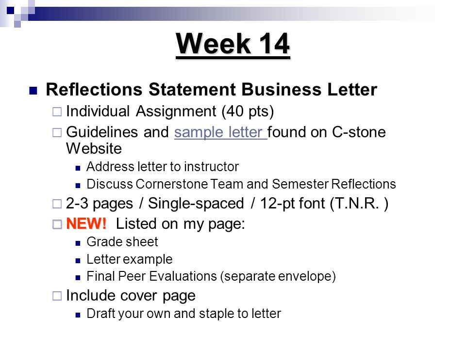 Week 14 Reflections Statement Business Letter