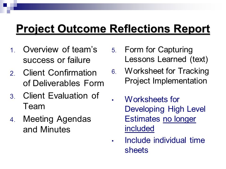 Project Outcome Reflections Report