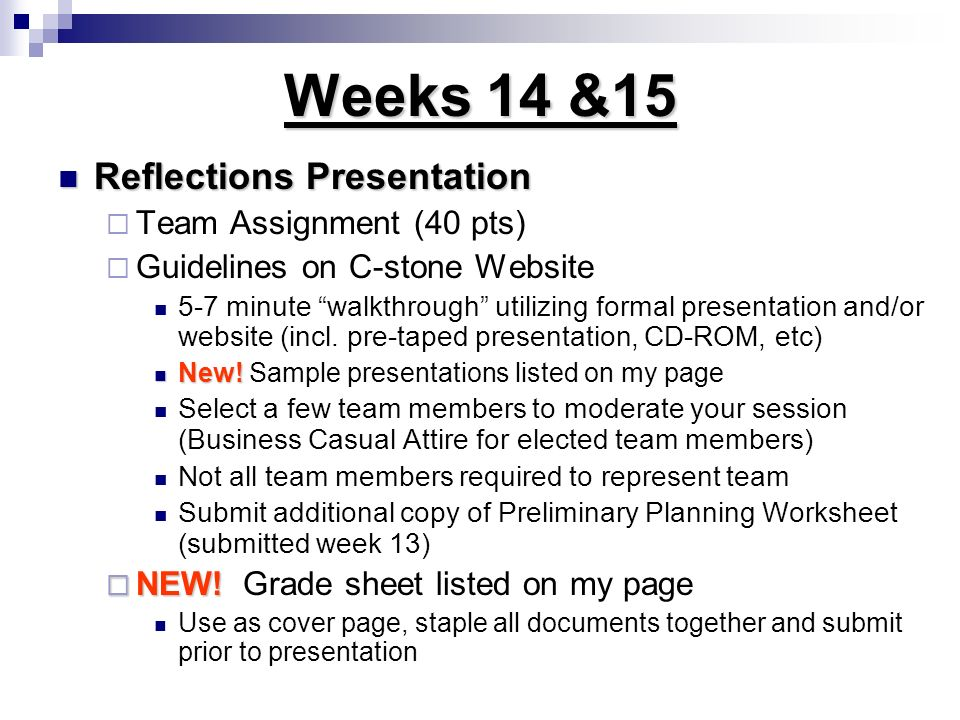 Weeks 14 &15 Reflections Presentation Team Assignment (40 pts)