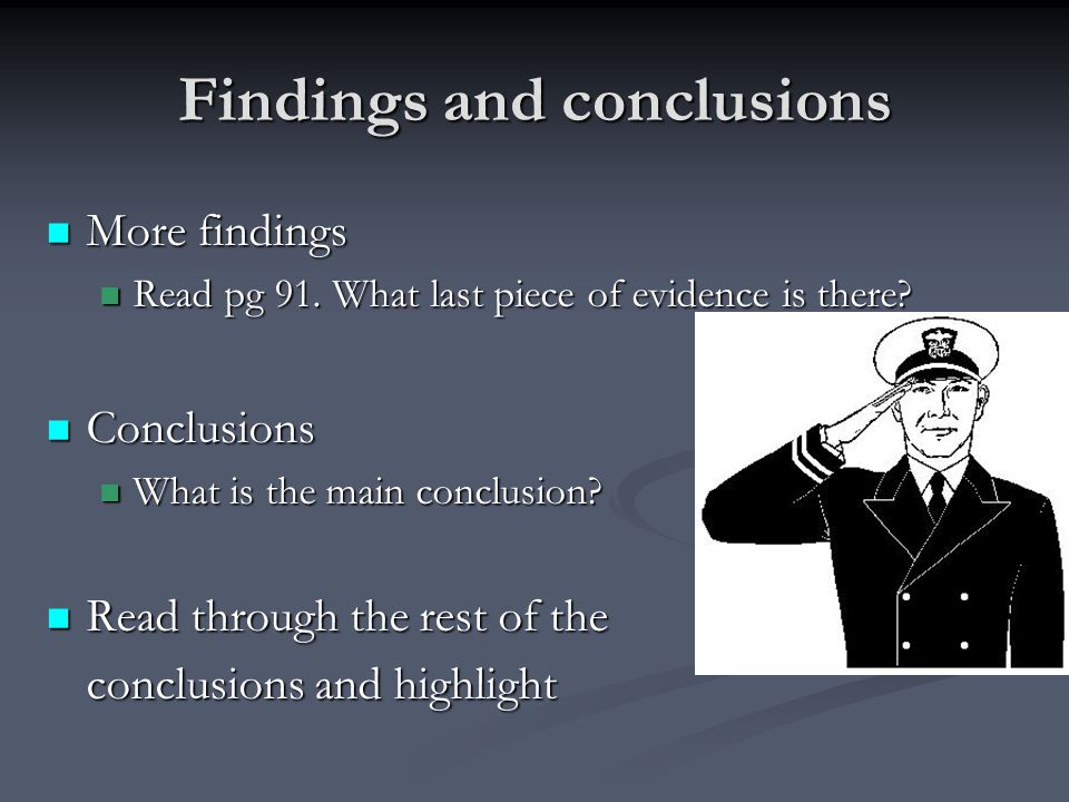 Findings and conclusions