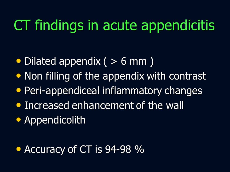 CT findings in acute appendicitis