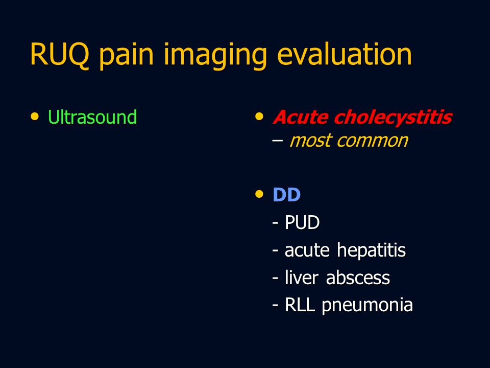 RUQ pain imaging evaluation