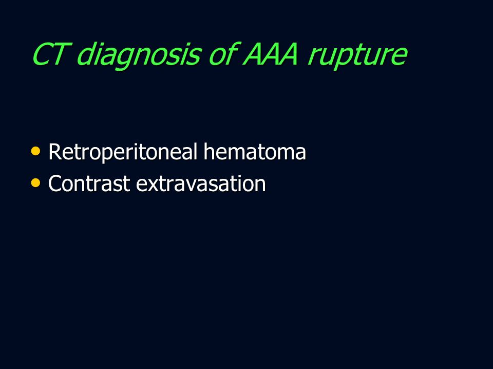 CT diagnosis of AAA rupture
