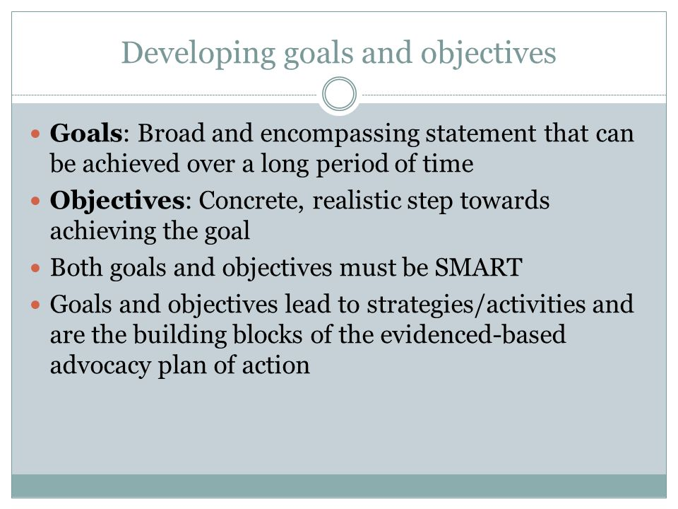 Developing goals and objectives