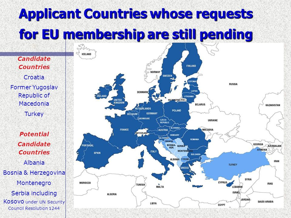 Applicant Countries whose requests for EU membership are still pending
