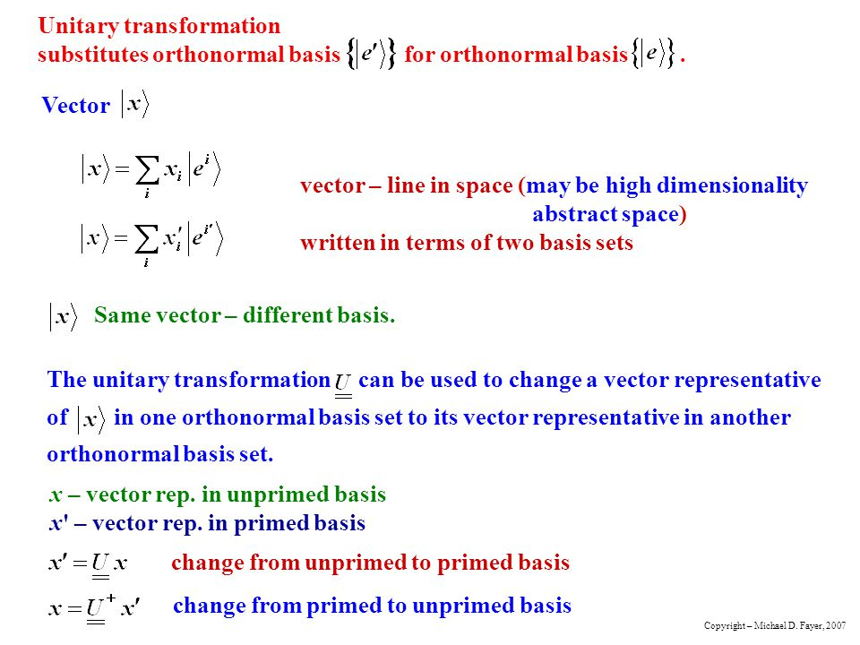 Same vector – different basis.