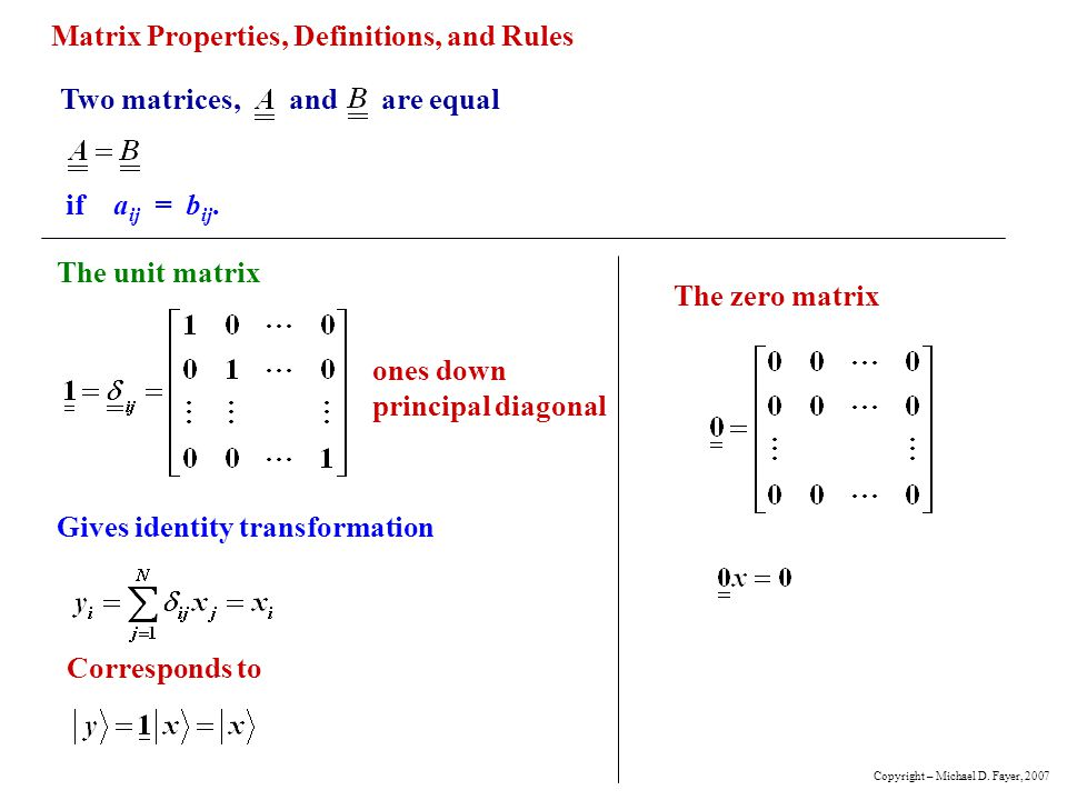 Matrix Properties, Definitions, and Rules