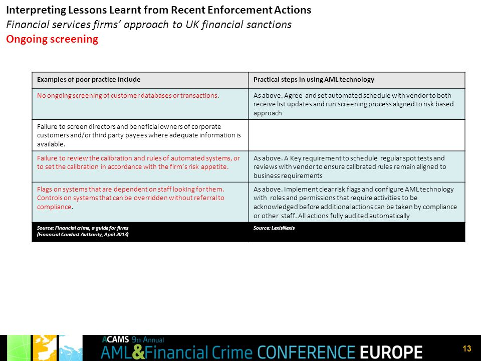 Interpreting Lessons Learnt from Recent Enforcement Actions Financial services firms' approach to UK financial sanctions