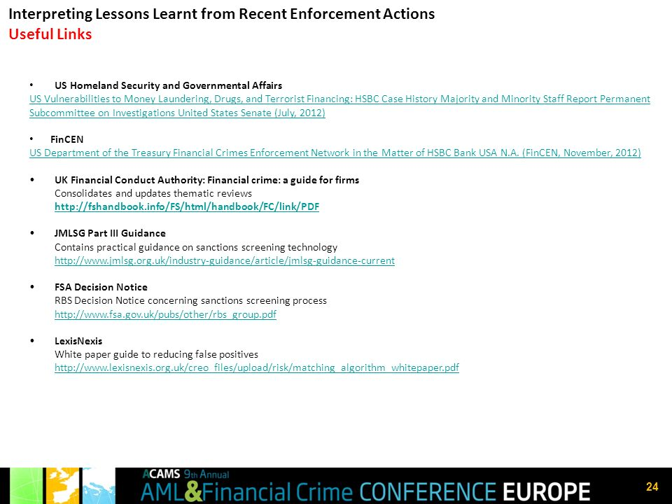 Interpreting Lessons Learnt from Recent Enforcement Actions Useful Links