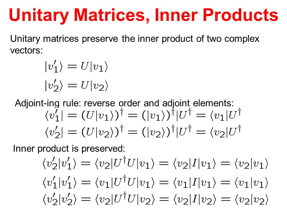 Unitary Matrices, Inner Products