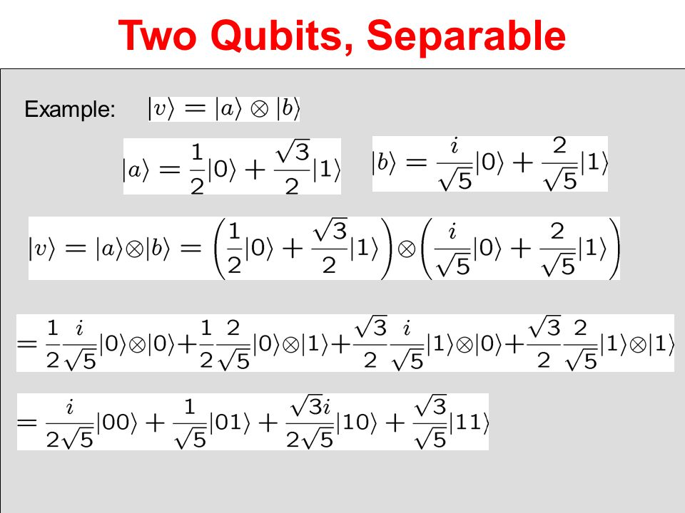 Two Qubits, Separable Example:
