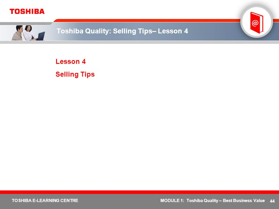 Toshiba Quality: Selling Tips– Lesson 4