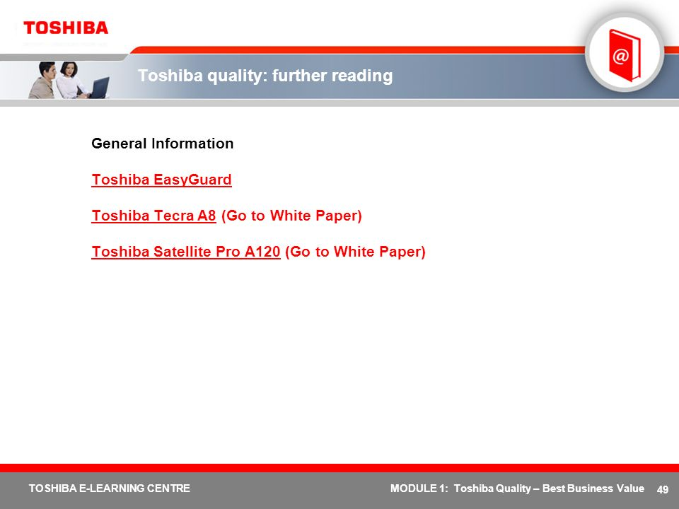 Toshiba quality: further reading
