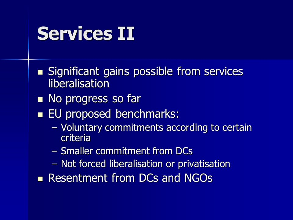 Services II Significant gains possible from services liberalisation