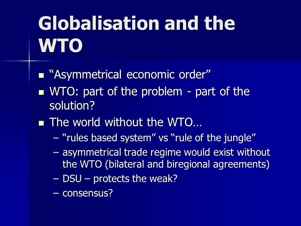 Globalisation and the WTO