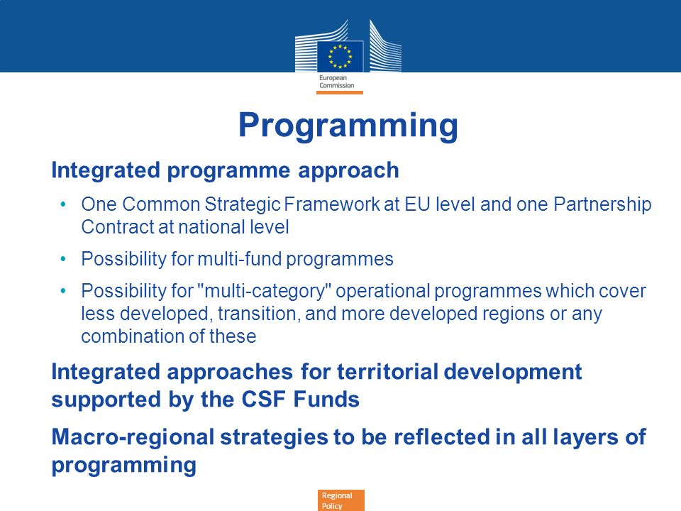 Programming Integrated programme approach