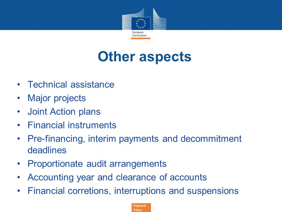 Other aspects Technical assistance Major projects Joint Action plans