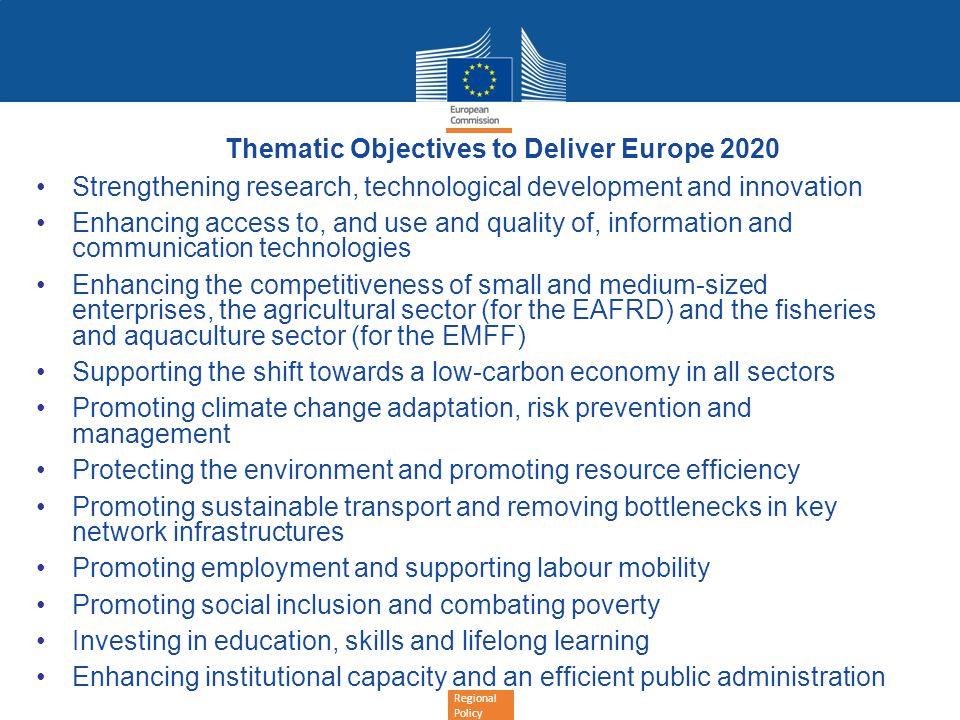 Thematic Objectives to Deliver Europe 2020