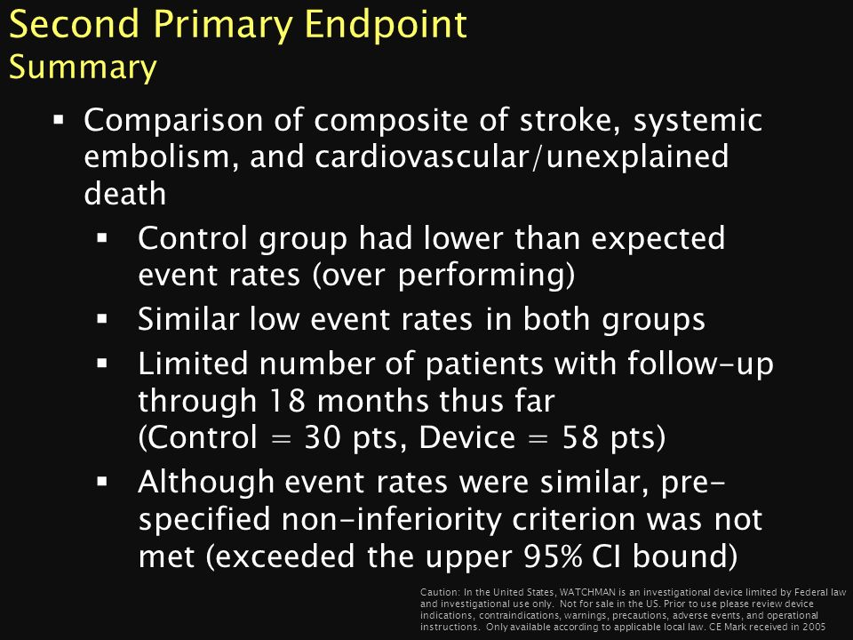Second Primary Endpoint Summary