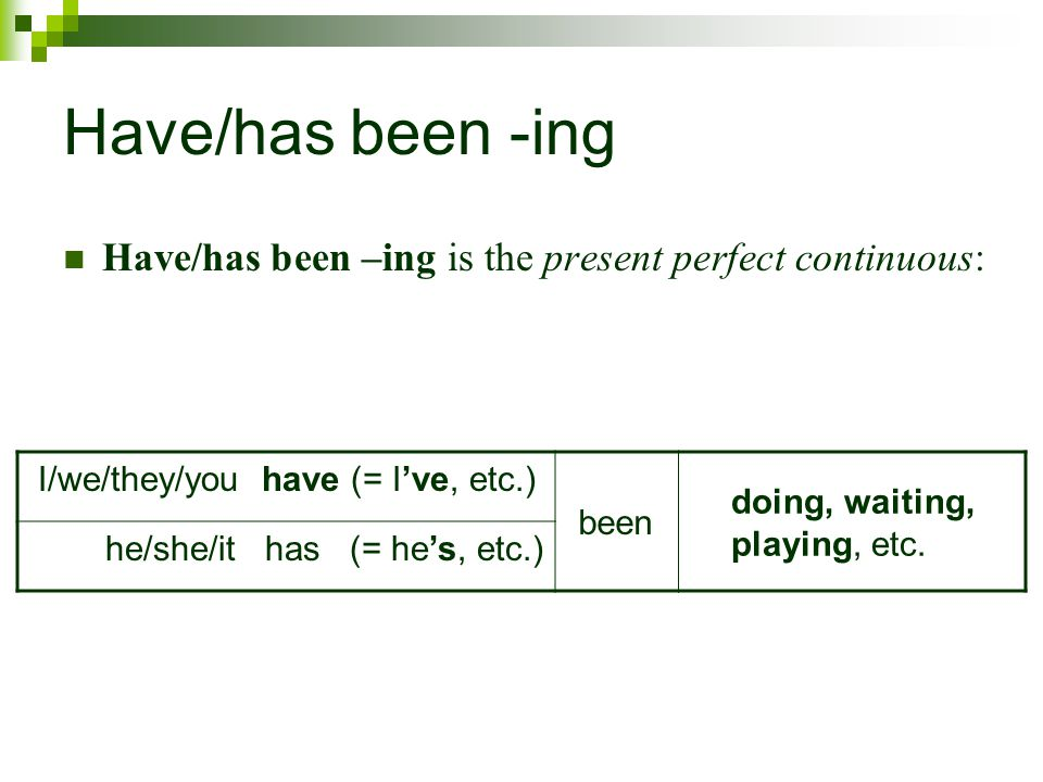 Have/has been -ing Have/has been –ing is the present perfect continuous: I/we/they/you have (= I've, etc.)