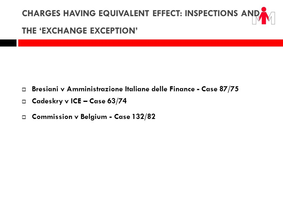 CHARGES HAVING EQUIVALENT EFFECT: INSPECTIONS AND THE 'EXCHANGE EXCEPTION'