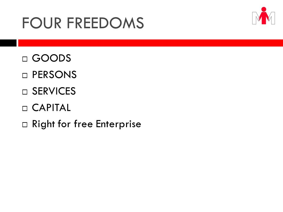 FOUR FREEDOMS GOODS PERSONS SERVICES CAPITAL Right for free Enterprise