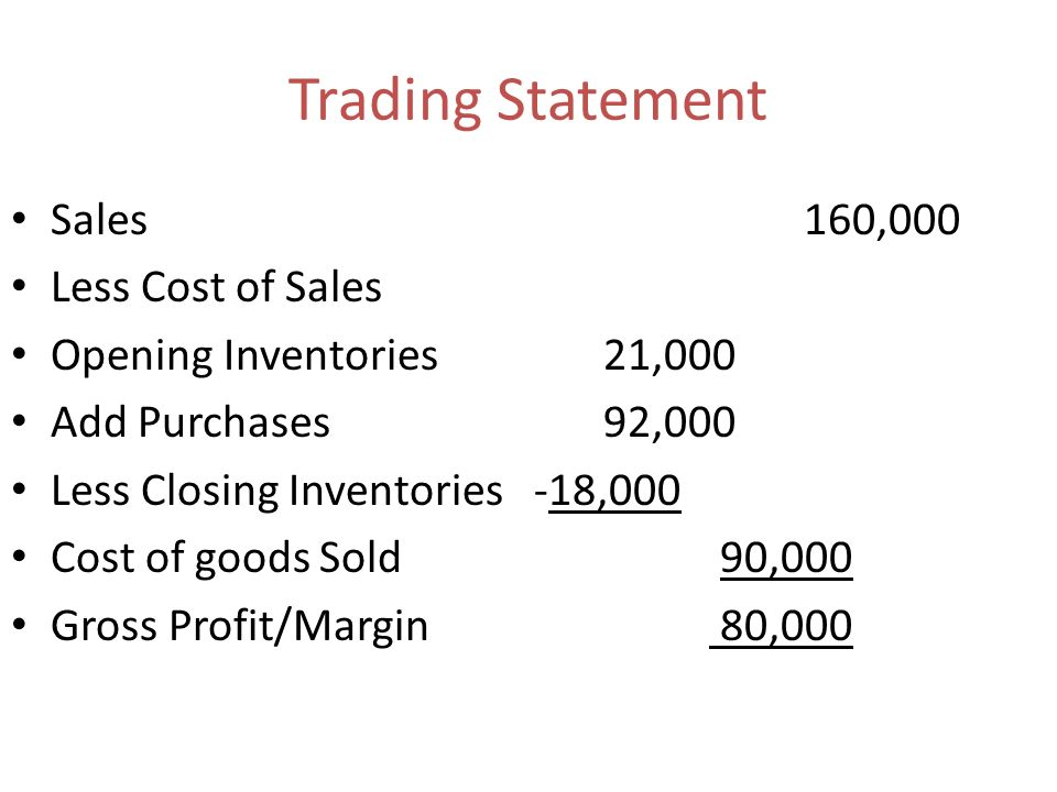 Trading Statement Sales 160,000 Less Cost of Sales