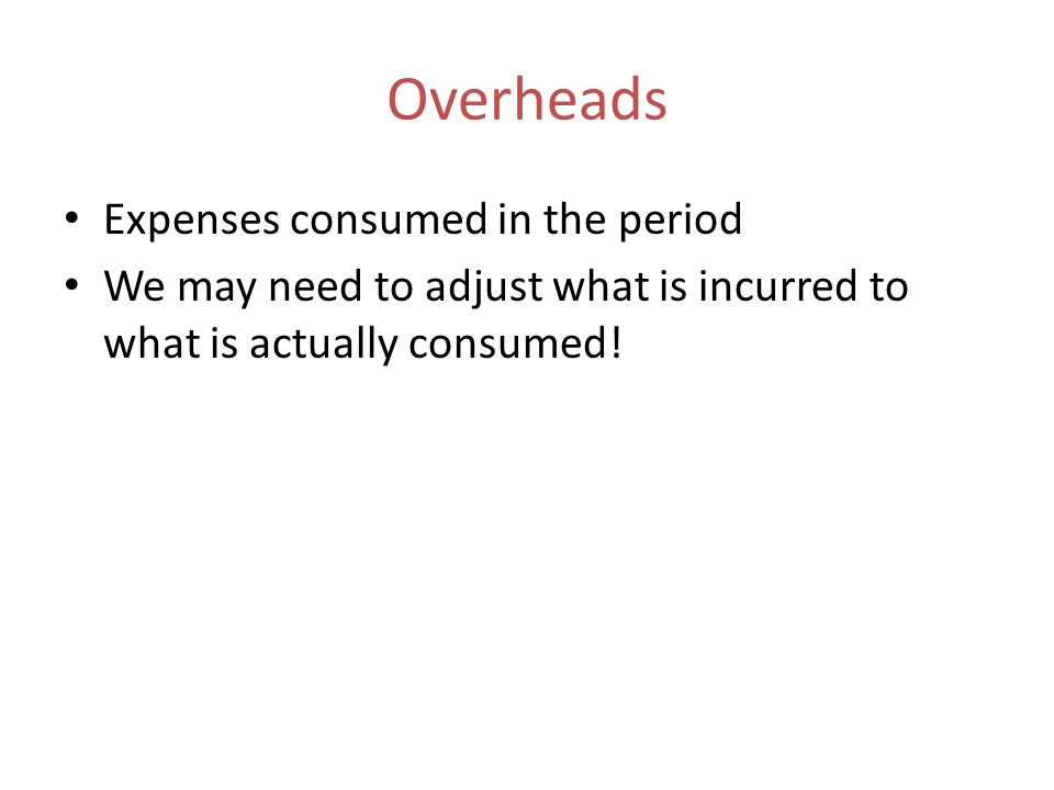 Overheads Expenses consumed in the period