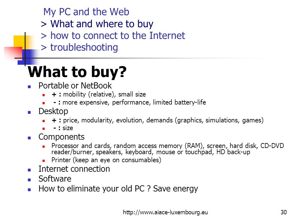 My PC and the Web > What and where to buy > how to connect to the Internet > troubleshooting What to buy